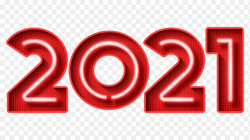 Red 2021 numbers isolated on transparent background PNG