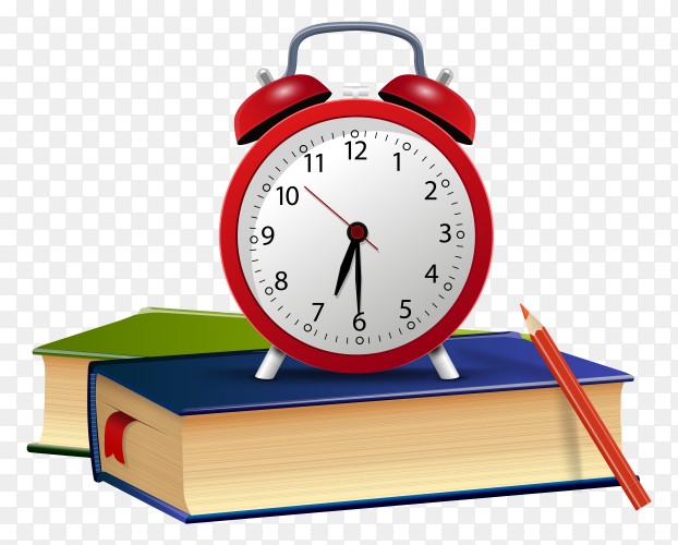Red alarm with books on transparent background PNG