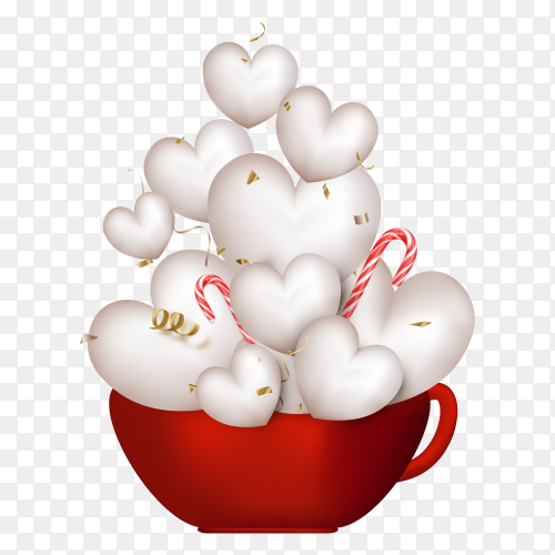 Red cup with cute white 3d hearts on transparent background PNG