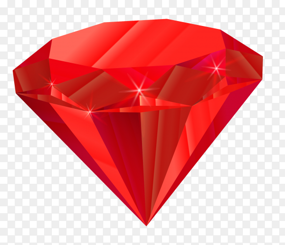 Red diamond isolated premium vector PNG