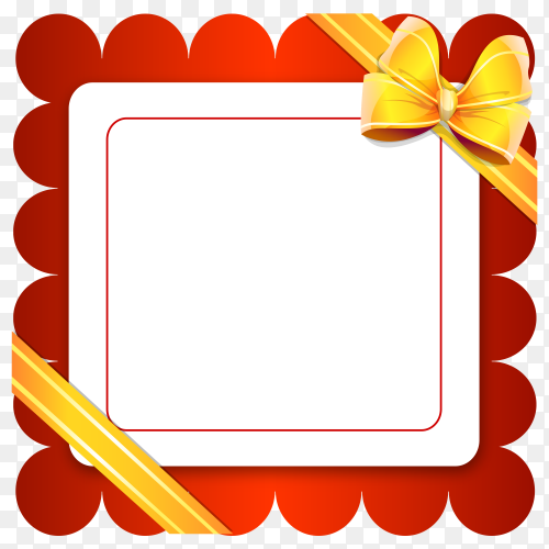 Red frame banner with yellow ribbon and bow on transparent background PNG