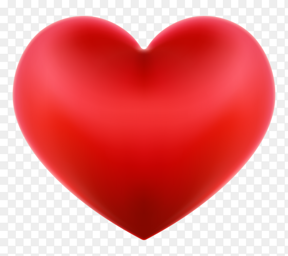 Red heart illustration on transparent background PNG
