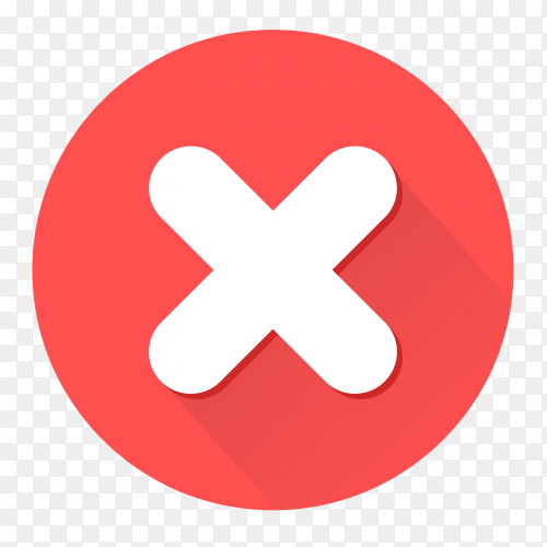 Red incorrect icon button on transparent background PNG