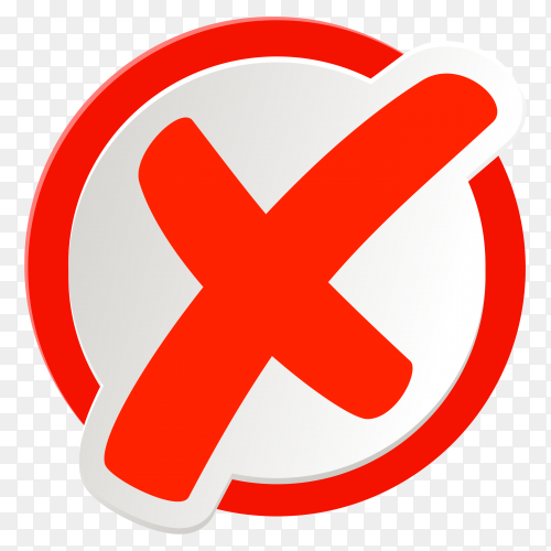 Red incorrect icon in circle on transparent background PNG