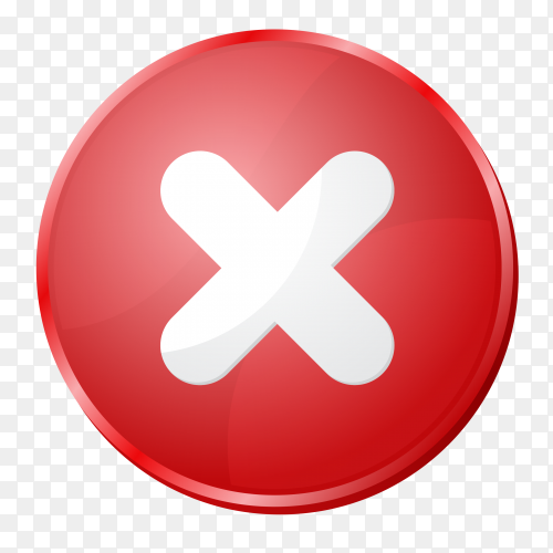 Red incorrect icon on transparent background PNG