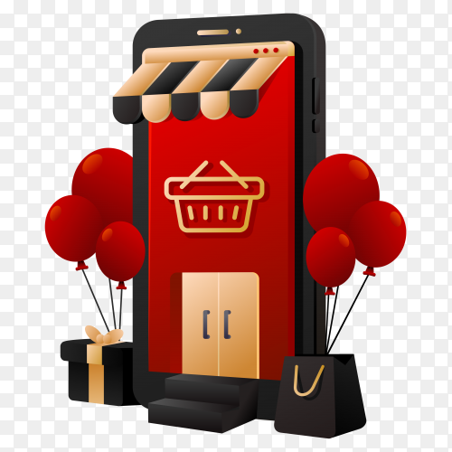 Red online shopping Illustration on transparent background PNG