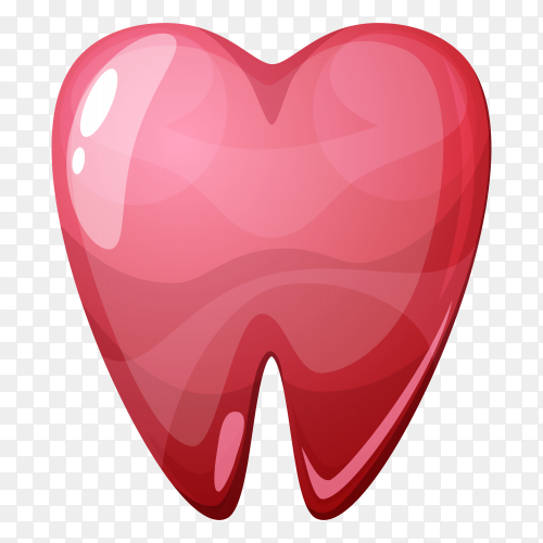 Red tooth illustration on transparent background PNG