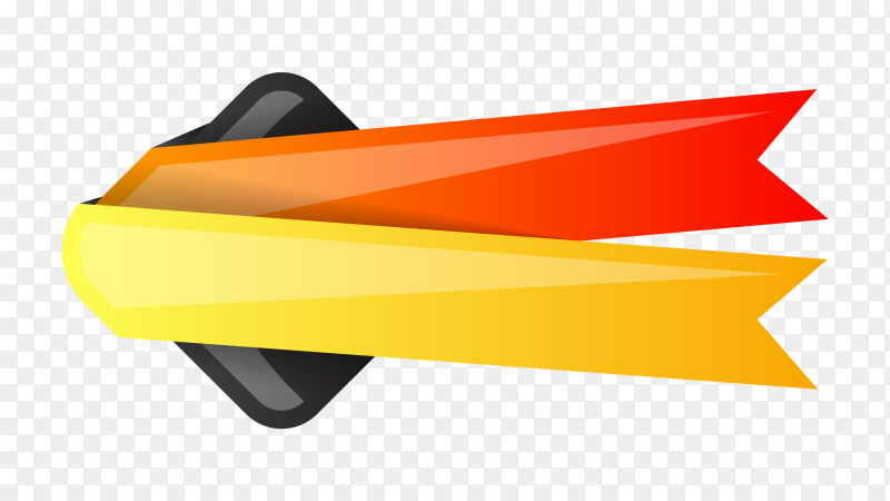 Red yellow ribbon and banner design on transparent background PNG