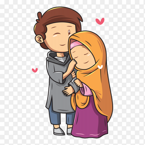 Romantic muslim couple on transparent background PNG