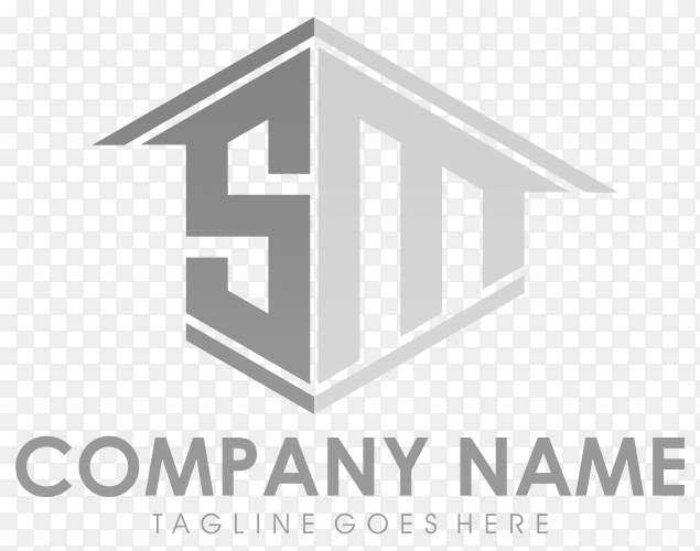 SM Company name lettering logo design on transparent background PNG