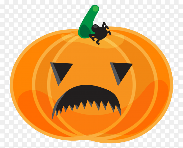 Sad halloween pumpkin isolated on transparent background PNG