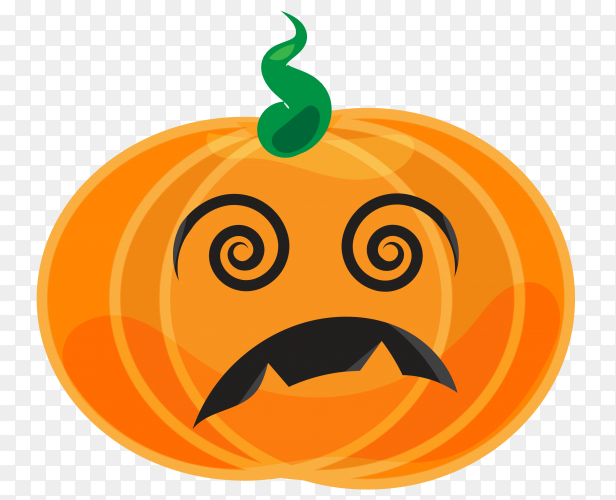 Sad halloween pumpkin on transparent background PNG