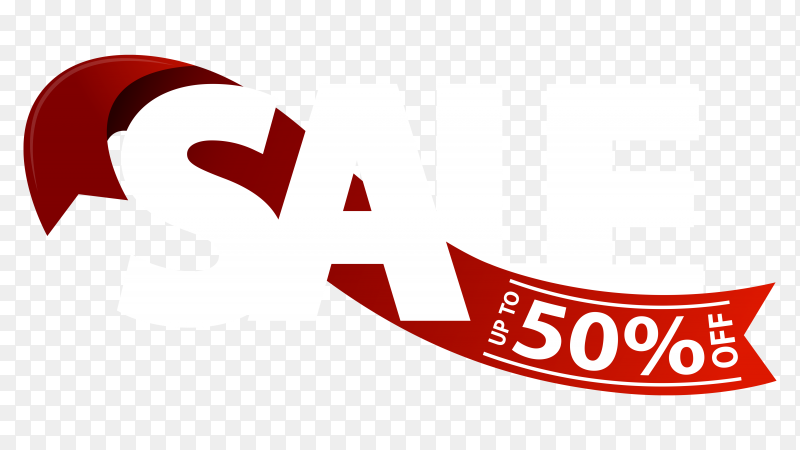 Sale and discount banner design on transparent background PNG