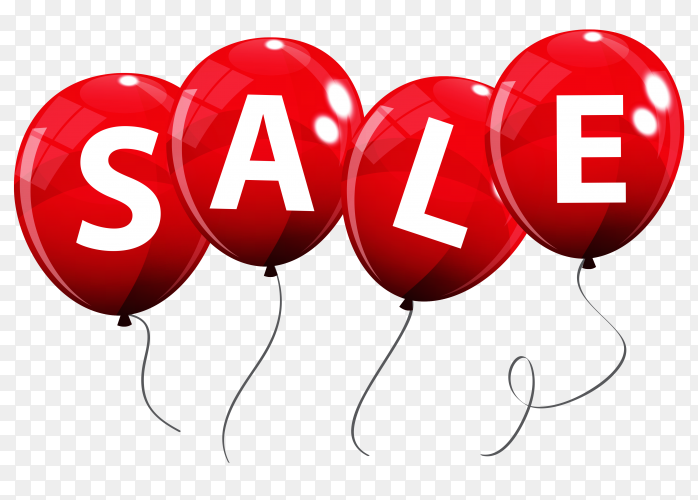 Sale balloon concept discount on transparent PNG
