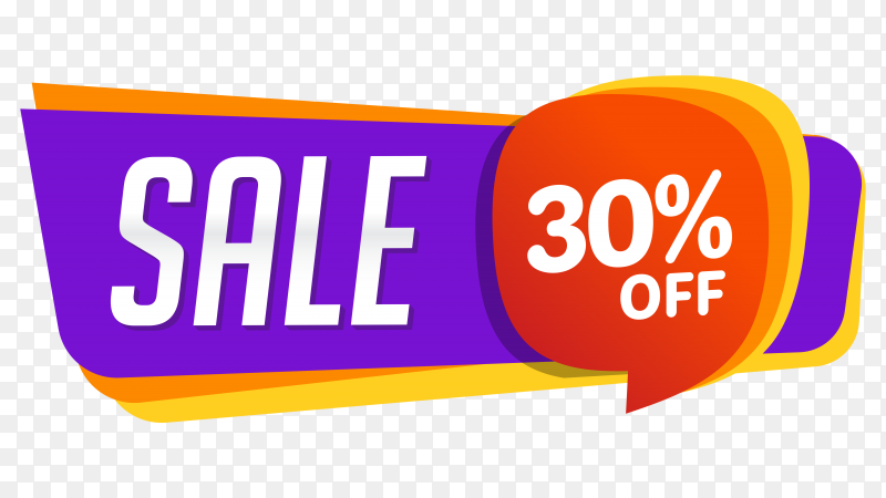 Sale banner design on transparent background PNG