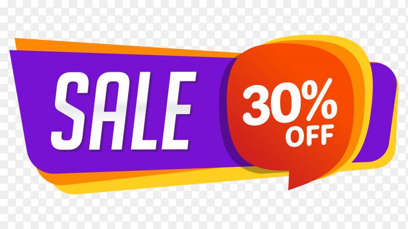 Sale banner design on transparent background PNG