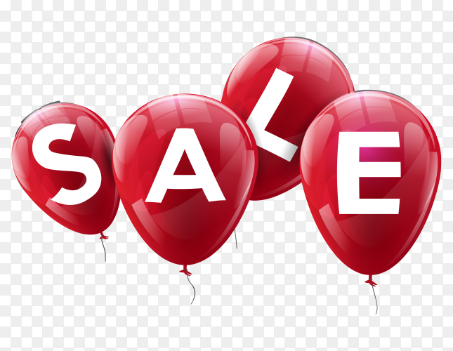 Sale banner with red balloons on transparent background PNG