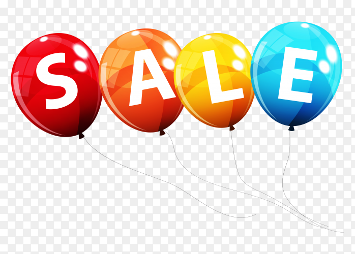 Sale lettering on colorful balloons illustration on transparent background PNG