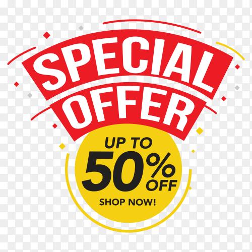Sale special offer banner design on transparent background PNG