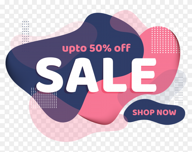 Sale template banner design with 50 discount offer on transparent background PNG