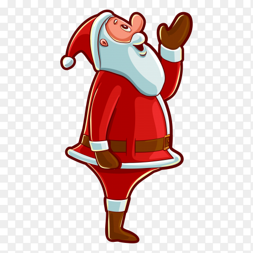 Santa claus character on transparent background PNG