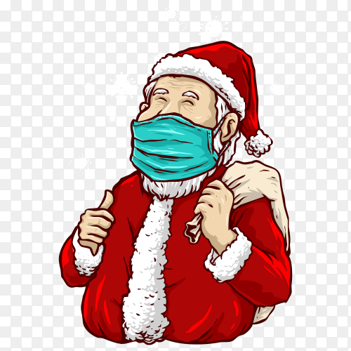 Santa claus wear a medical mask in the pandemic on transparent background PNG