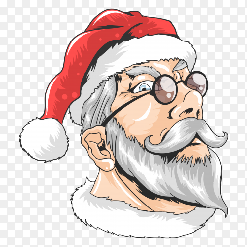 Santa claus wearing sunglasses on transparent background PNG