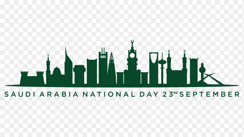 Saudi arabia independence day template on transparent background PNG
