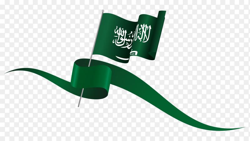 Saudi arabia waving flag on flagpole on transparent PNG