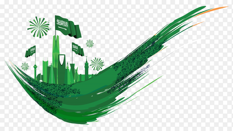 Saudi national day design on transparent background PNG