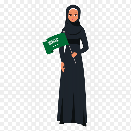 Saudi woman holding flag of saudi arabia premium vector PNG
