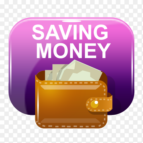 Saving money banner design on transparent background PNG