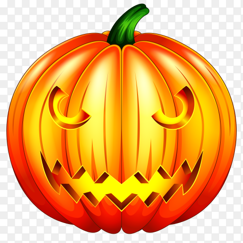 Scary pumpkin halloween lantern  on transparent PNG
