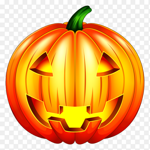 Scary pumpkin halloween lantern  on transparent background PNG