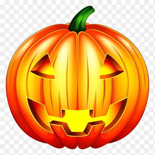 Scary pumpkin halloween lantern  on transparent background PNG