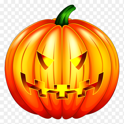 Scary pumpkin halloween lantern Illustration on transparent background PNG