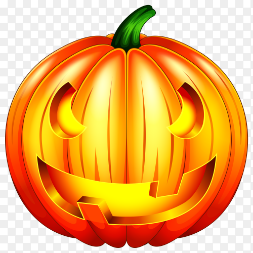 Scary pumpkin halloween lantern premium vector PNG