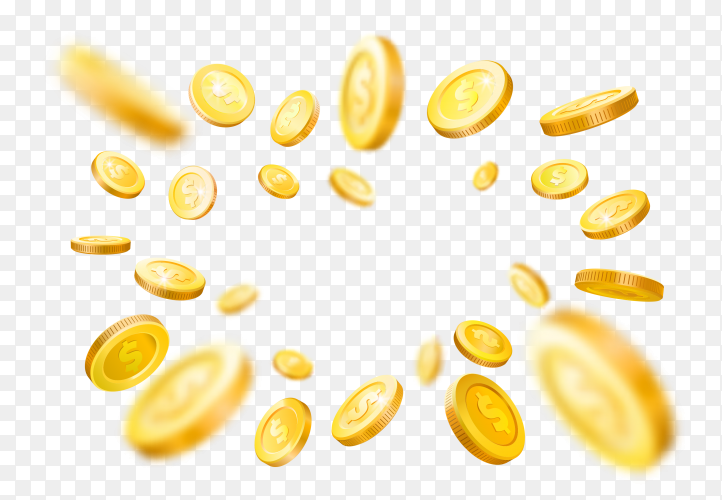 Shiny realistic gold coins explosion frame on transparent background PNG