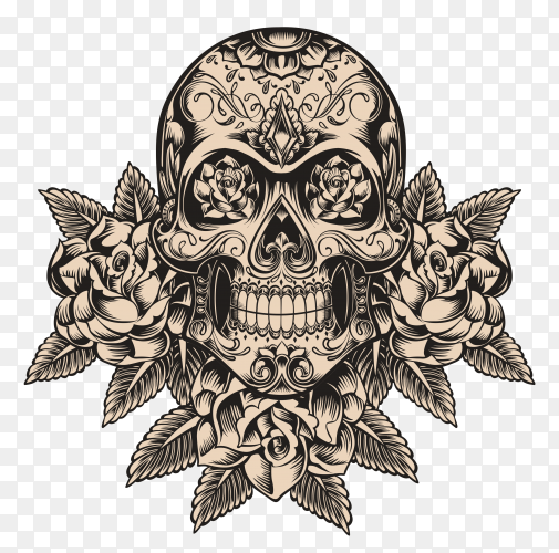 Skull and roses illustration on transparent background PNG