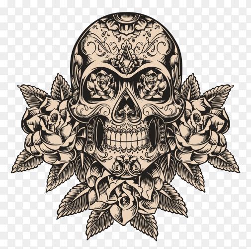 Skull and roses illustration on transparent background PNG