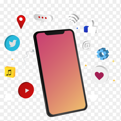 Smartphone with social apps on transparent background PNG
