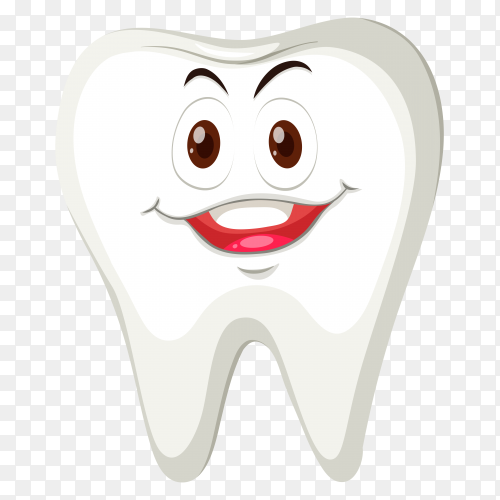 Smile cartoon tooth on transparent background PNG