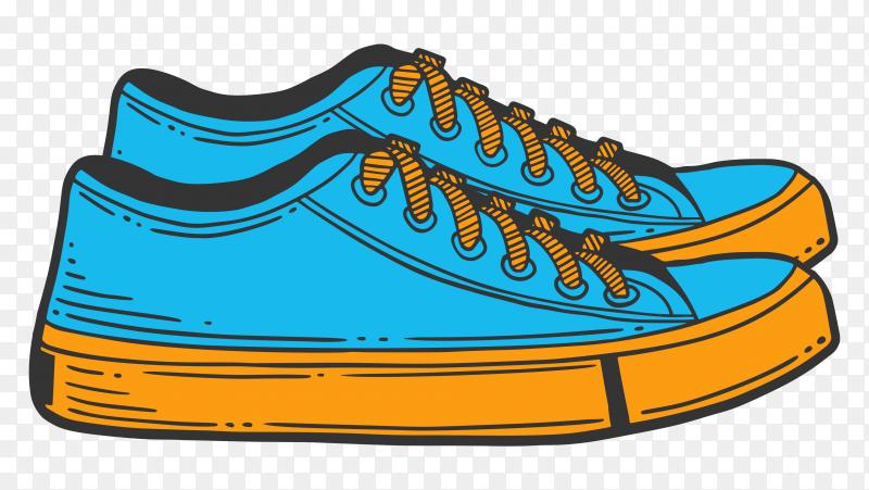 Sneakers blue shoes premium vector PNG