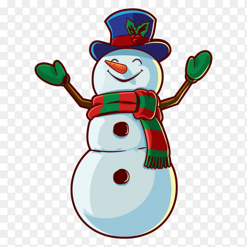 Snowman Character illustration on transparent background PNG