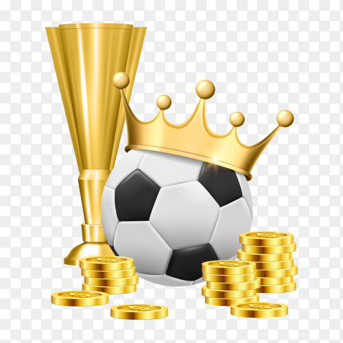 Soccer ball, gold crown, cup and coins illustration on transparent background PNG