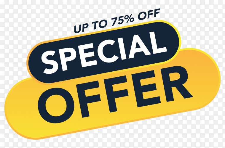 Special offer sale promotion banner template on transparent background PNG