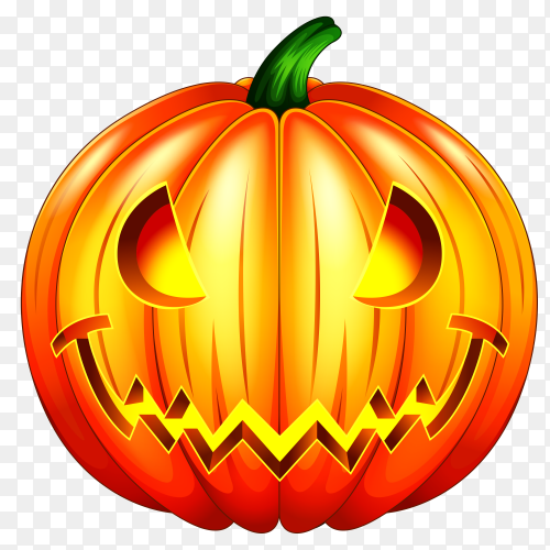 Spooky carved halloween pumpkin on transparent PNG