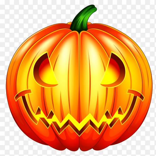 Spooky carved halloween pumpkin on transparent PNG