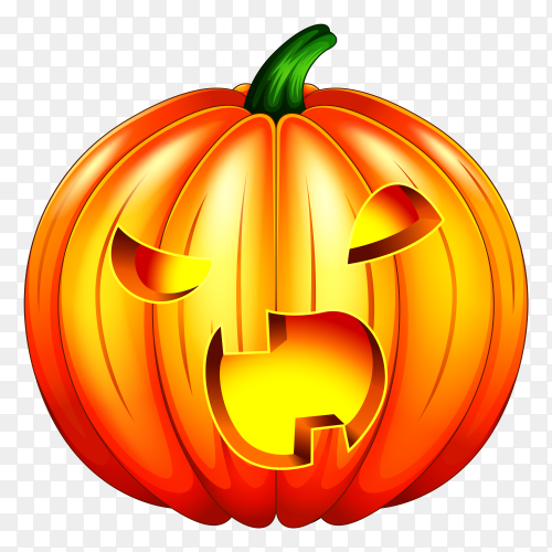 Spooky carved halloween pumpkin on transparent background PNG