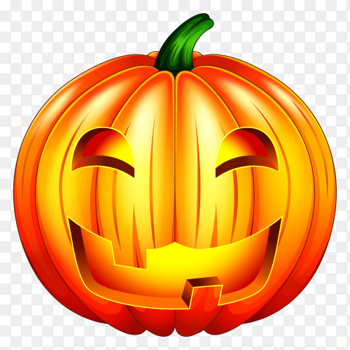 Spooky carved halloween pumpkin premium vector PNG